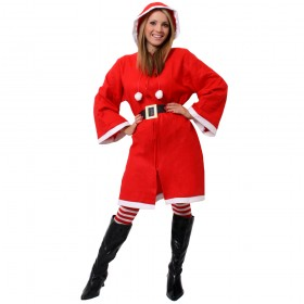 Ladies Miss Claus Christmas Costume + Stockings