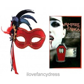 Red Masquerade Mask and Fangs Kit