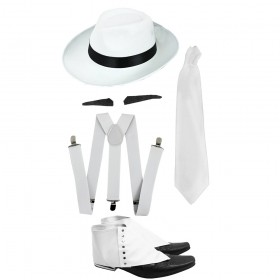 Gangster Set- White Trilby Hat, Tie, Braces, Spiv and Spats