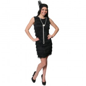 Adult Fringed Flapper Dress - Black