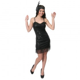 Adult Black Sequin Flapper Costume