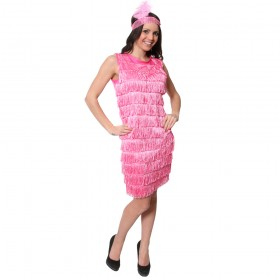 Adult Fringed Flapper Dress - Pink