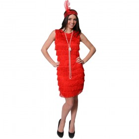 Adult Fringed Flapper Dress - Red