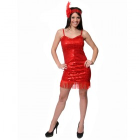 Adult Red Sequin Flapper Costume