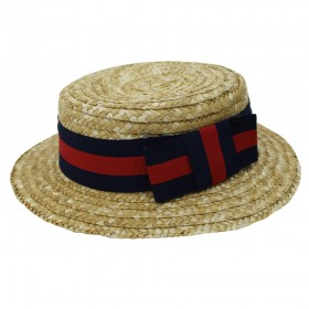 Straw Boater Hat - Red and Blue Ribbon
