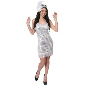 Adult White Sequin Flapper Costume