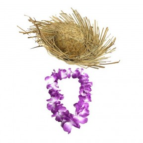 Beachcomber Hat + Purple Hawaiian Lei