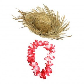 Beachcomber Hat + Red Hawaiian Lei