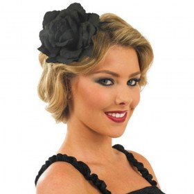 Black Rose Fascinator on Headband