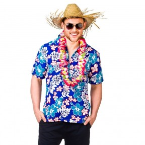 Blue Flowers Hawaiian Surfer Shirt