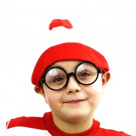 Childs Wheres Wally Red and White Bobble Hat