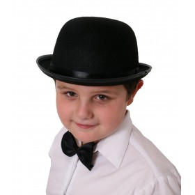 Childrens Black Felt Bowler Hat