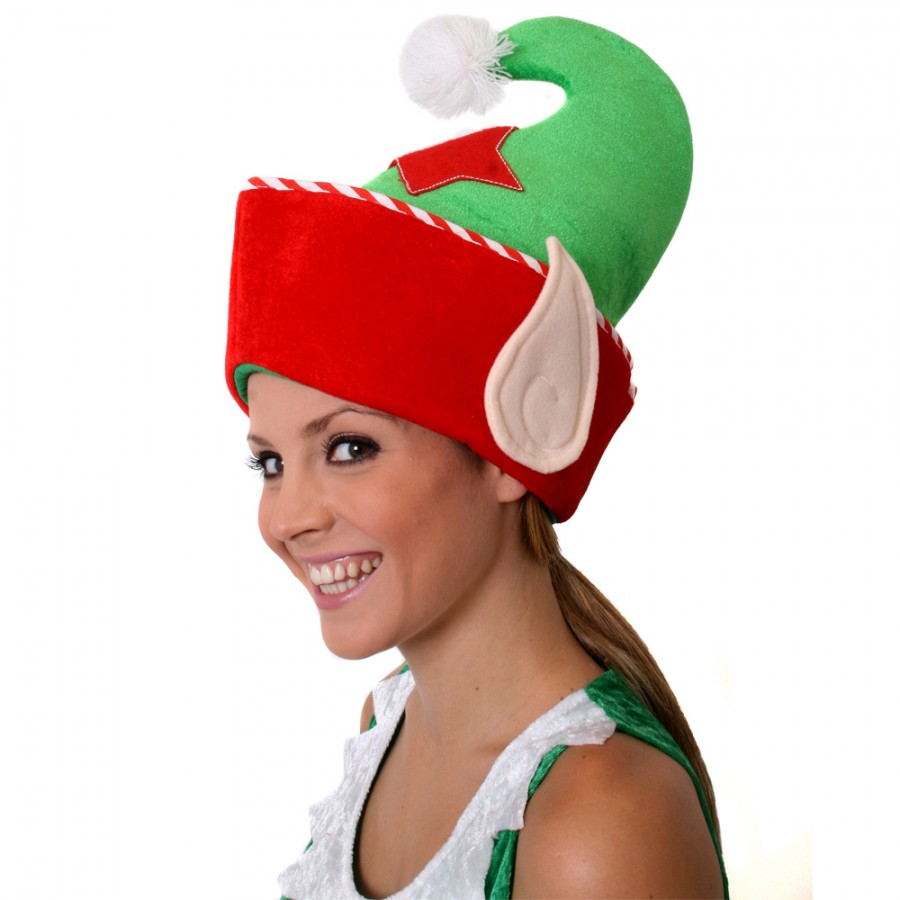 Red and green elf hat with ears