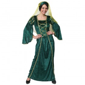 Ladies Past Times Queen Costume -  Green