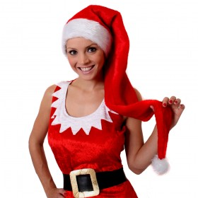 Long Red Santa Hat with Bobble and White Faux Fur