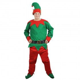 Mens 5 Piece Elf Costume