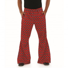 Mens Flared Tartan Trousers
