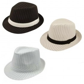 Pinstripe Trilby Hat with Band