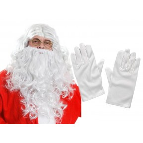 Santa Set - Wig, Beard, Eyebrows, Gloves and Glasses