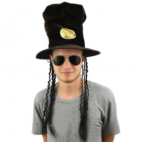 Slash Style Brown Velour Hat with Attached Hair + Glasses