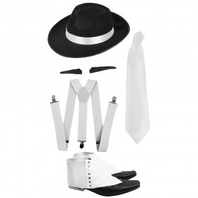 Gangster Set- Trilby Hat, Tie & Braces, Spiv and Spats
