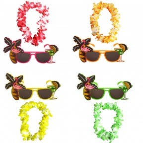 Tropical Flamingo Glasses + Lei