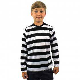 Childs Black and White Striped Long Sleeve Top