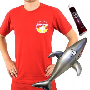Mens Shark Attack Lifeguard - Red