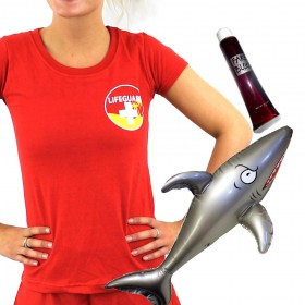 Womens Shark Attack Lifeguard - Red