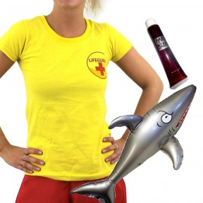Womens Shark Attack Lifeguard - Yellow