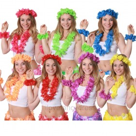 4 Piece Solid Colour Lei Set