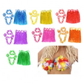 Hawaiian Lei Set, Matching Skirt and Hula Bra