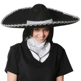 Black Sombrero and Paisley Bandana