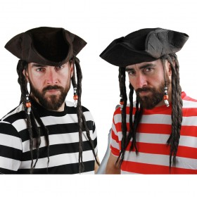 Caribbean Pirate Hat with Attached Deadlocks