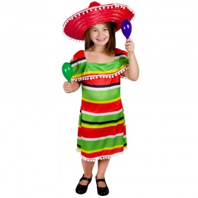 Girls Multicolour Mexican Dress with Pom Pom Edging