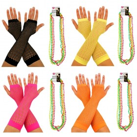 Fishnet Gloves + Neon Beads