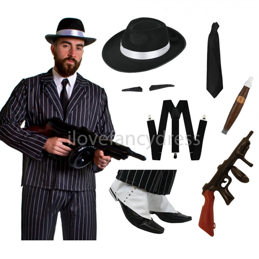 Awesome Mens 1920s Gangster Costume Adults Mob Boss Fancy Dress 20s Mafia Peaky Outfit | EBay
