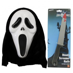 Screamer Mask and Bloody Knife