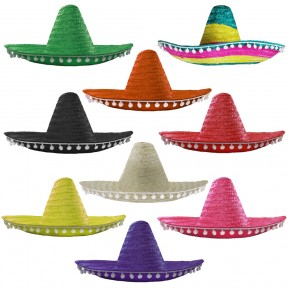100 x Mexican Sombrero with Pom Pom Edging