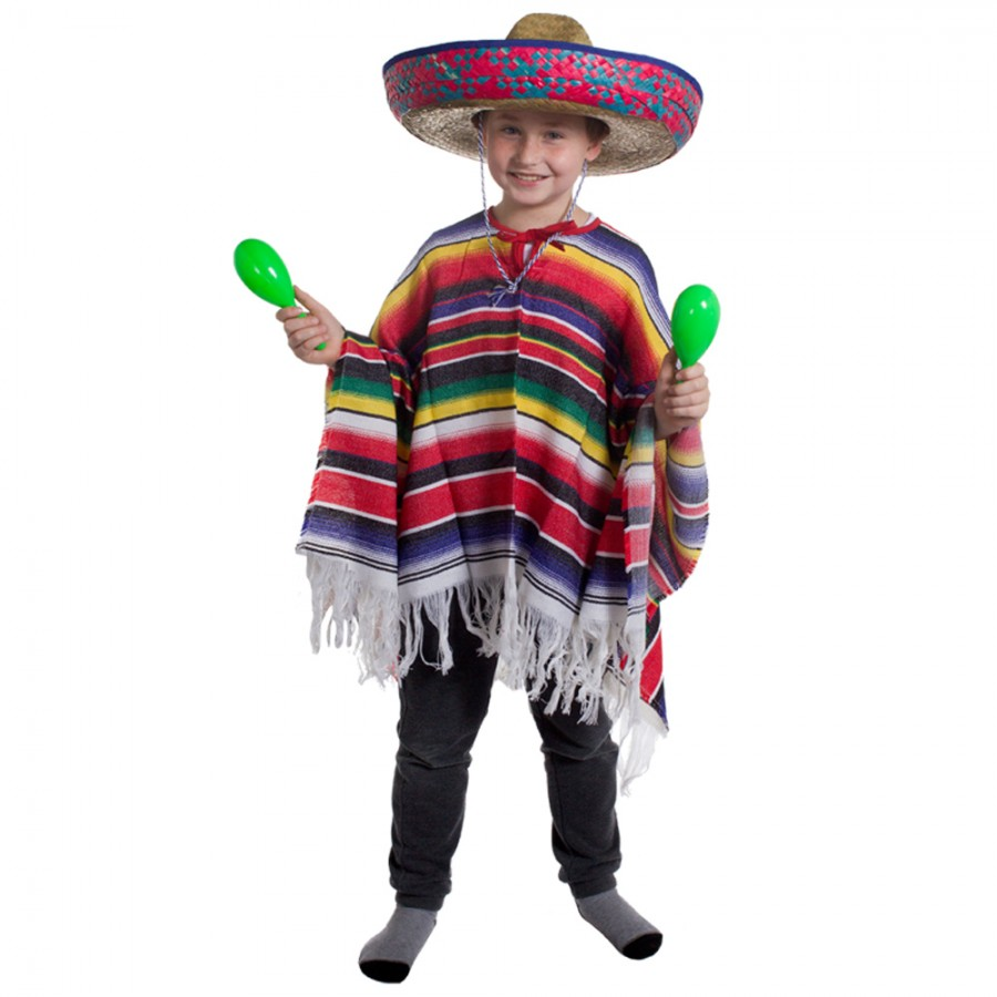 Childs Mexican Poncho And Straw Sombrero