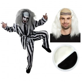 Mad Man Halloween Costume with Wig and Face Paint