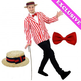 Adults Red and White Striped Blazer, Boater and Bowtie