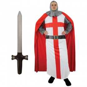 Adults St George Knight Costume + Inflatable Sword