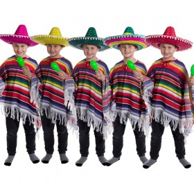Childs Mexican Poncho and Pom Pom Sombrero