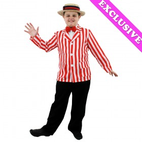 Childrens Red and White Striped Blazer + Straw Boater