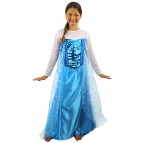 Girls Snow Princess Fancy Dress Costume