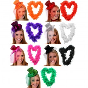 Mini Glitter Fascinator Top Hat + Boa
