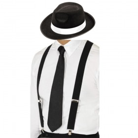 Gangster Set- Trilby Hat, Tie & Braces (Black)