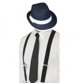 Gangster Set- Pinstripe Trilby Hat, Tie & Braces