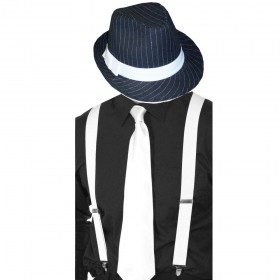 Gangster Set- Pinstripe Trilby Hat, Tie & Braces (White)